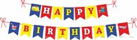 Vehicle themed colored Happy Birthday Banner