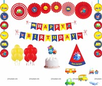 Vehicles theme Paper Fan Party Kit