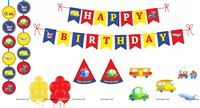 Vehicles theme Super saver birthday decoration kit (Pack of 58 pieces)