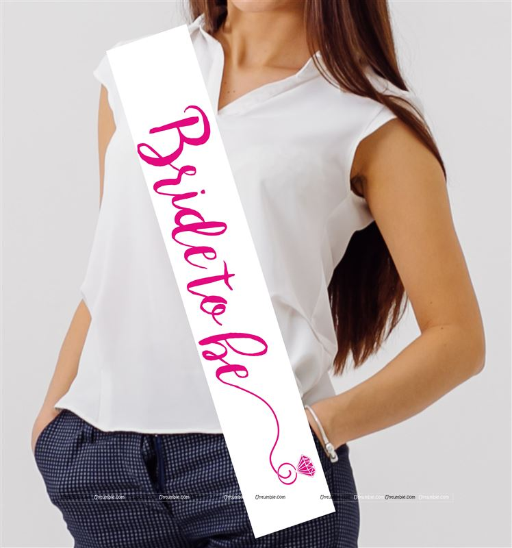 Bride to Be Sash White & Pink