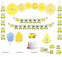 Wheels on the Bus theme Paper Fan Party Kit