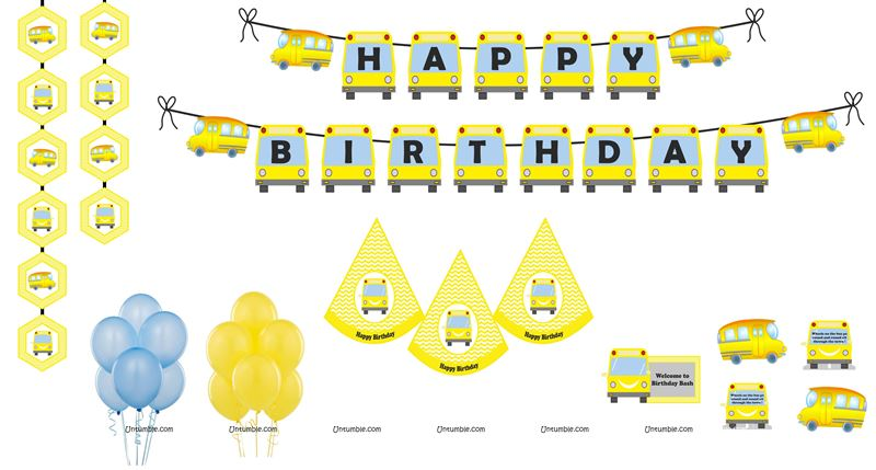 Wheels on the bus Super saver birthday decoration kit (Pack of 58 pieces)